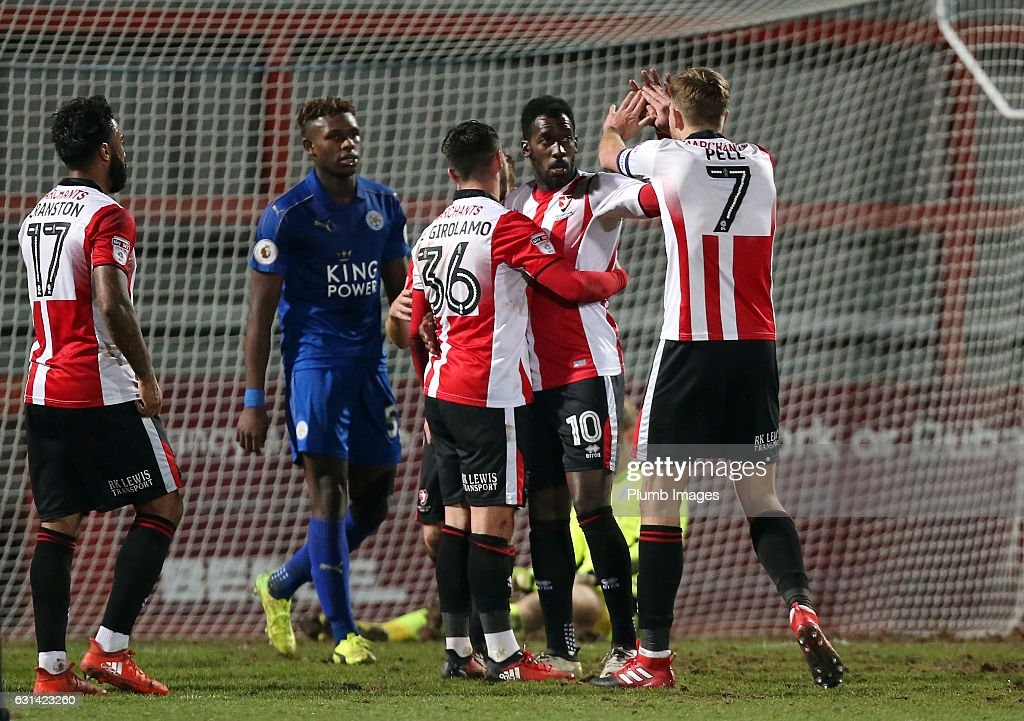 Amari Morgan-Smith of Cheltenham Town celebrates after scoring to make it 5-1 during the EFL Checkatrade Trophy Second Round tie between Cheltenham Town and Leicester City at Whaddon Road Stadium on January 10, 2017 in Cheltenham, England.