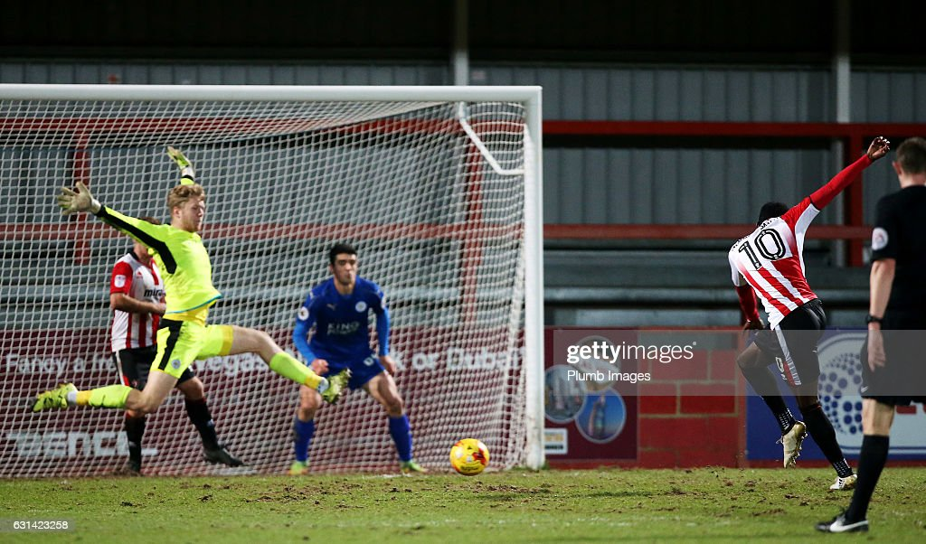 Amari Morgan-Smith of Cheltenham Town scores to make it 5-1 during the EFL Checkatrade Trophy Second Round tie between Cheltenham Town and Leicester City at Whaddon Road Stadium on January 10, 2017 in Cheltenham, England.
