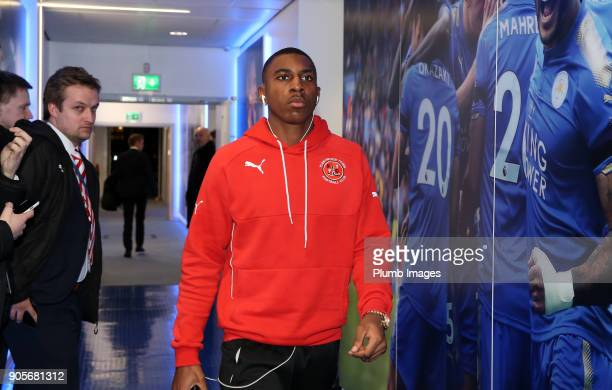 Amari'i Bell of Fleetwood Town arrives at King Power Stadium ahead of The Emirates FA Cup Third Round Replay between Leicester City and Fleetwood...