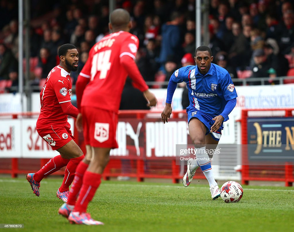 Amari'i Bell of Gllingham looks to attacks during the Sky Bet League One match between Crawley Town and Gillingham at The Checkatrade.com Stadium on March 28, 2015 in Crawley, England.