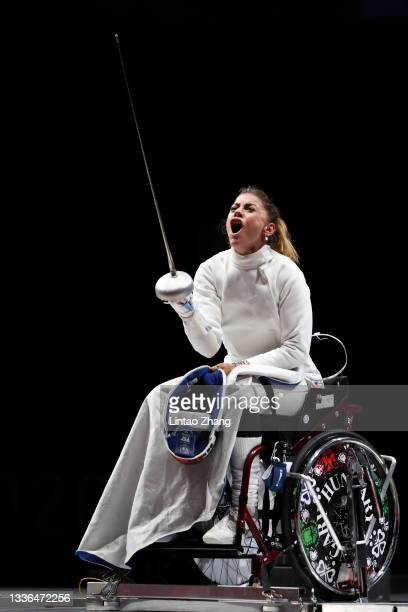 Amarilla Veres of Team Hungary celebrates after winning the Women's Épée Individual Category A Gold Medal against Jing Rong of Team China on day 2 of...