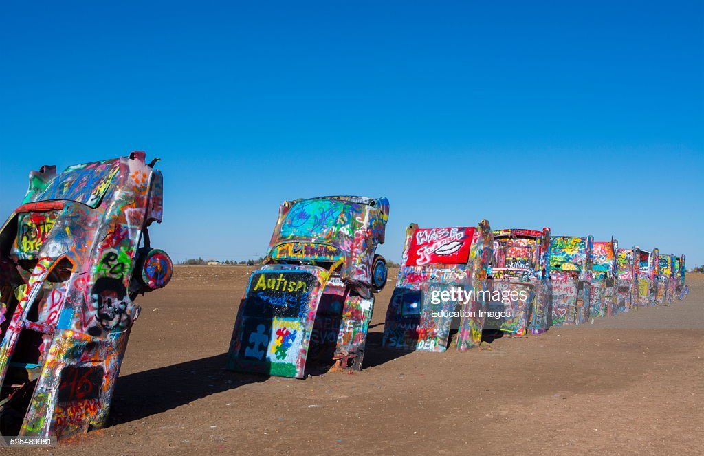 Amarillo Texas Famous Cadillac Ranch Off Of Route 66 Graphic Look At