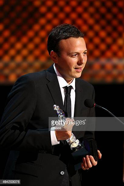 Amat Escalante receives the Ariel award during the 56th Ariel Awards Ceremony at Palace of Fine Arts on May 27 2014 in Mexico City Mexico