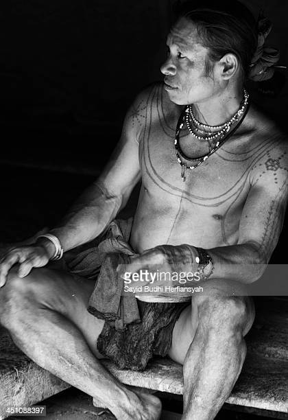 Amata Gougou, A man of Mentawai tribe with his Mentawai typical tattoos, besides using the traditional attributes on his body, he also wearing a...