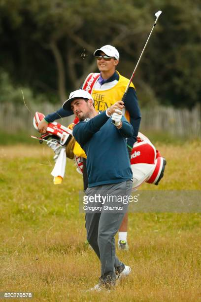 Amateur Alfie Plant of England hits his second shot on the 1st hole during the second round of the 146th Open Championship at Royal Birkdale on July...