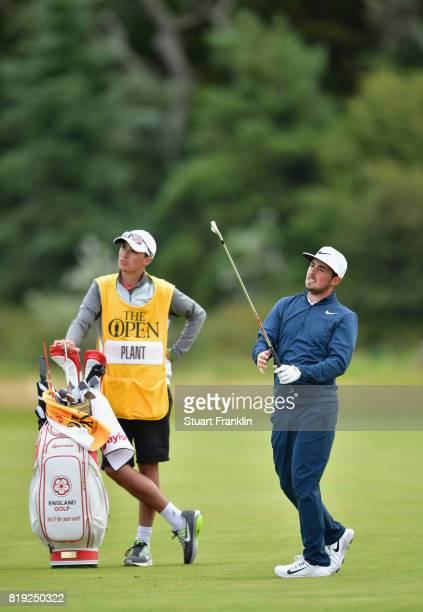 Amateur Alfie Plant of England hits his second shot on the 5th hole during the first round of the 146th Open Championship at Royal Birkdale on July...