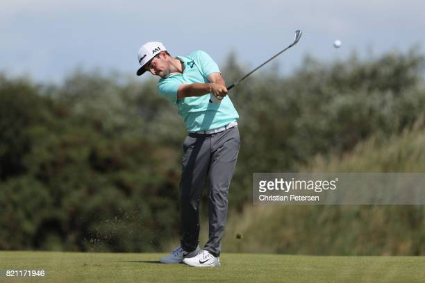 Amateur Alfie Plant of England hits his second shot on the 9th hole during the final round of the 146th Open Championship at Royal Birkdale on July...