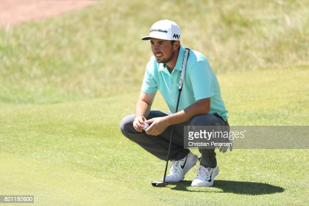 Amateur Alfie Plant of England lines up a putt during the final round of the 146th Open Championship at Royal Birkdale on July 23 2017 in Southport...