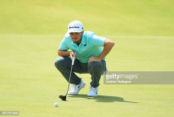 Amateur Alfie Plant of England lines up a putt on the 17th green during the final round of the 146th Open Championship at Royal Birkdale on July 23...