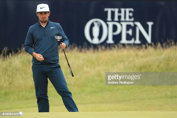 Amateur Alfie Plant of England lines up his putt on the 7th hole during the first round of the 146th Open Championship at Royal Birkdale on July 20...