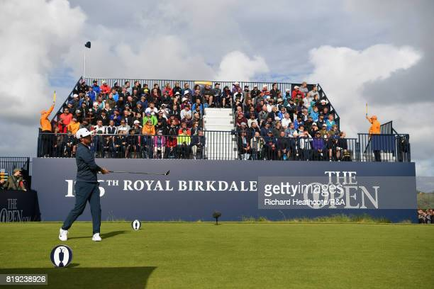 Amateur Alfie Plant of England on the first tee during the first round of the 146th Open Championship at Royal Birkdale on July 20 2017 in Southport...