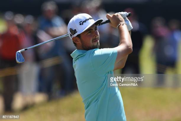 Amateur Alfie Plant of England plays a shot on the 10th hole during the final round of the 146th Open Championship at Royal Birkdale on July 23 2017...