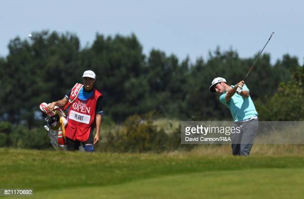 Amateur Alfie Plant of England plays his second shot on the 9th hole during the final round of the 146th Open Championship at Royal Birkdale on July...