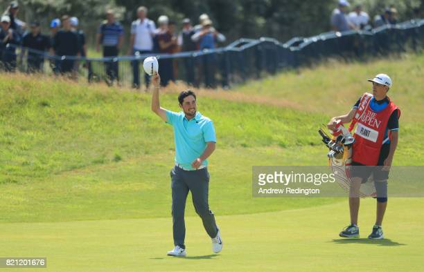 Amateur Alfie Plant of England walks up the 18th fairway during the final round of the 146th Open Championship at Royal Birkdale on July 23 2017 in...