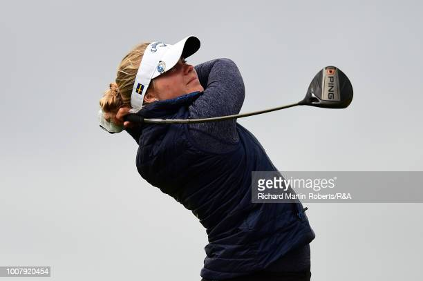 Amateur Amanda Linner of Sweden tees off during final qualifying for the Ricoh Women's British Open at St Annes Old Links Golf Club on July 30 2018...