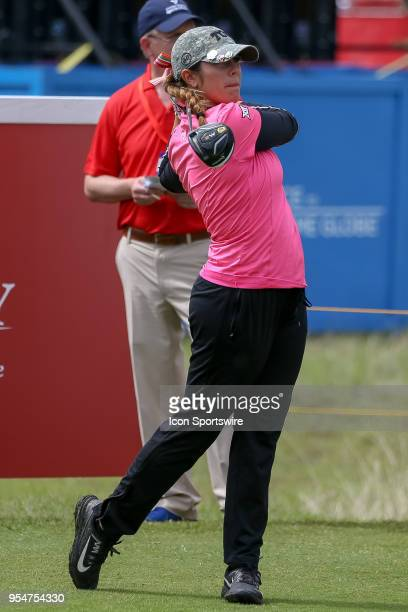 TCU amateur Annika Clark hits her tee shot on during the First Round of the Volunteers of America Texas Classic on May 4 2018 at the Old American...