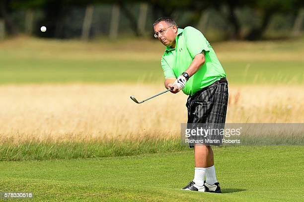 Amateur Antony Lowe chips during the PGA National ProAm North Qualifier at Formby Golf Club on July 21 2016 in Formby England