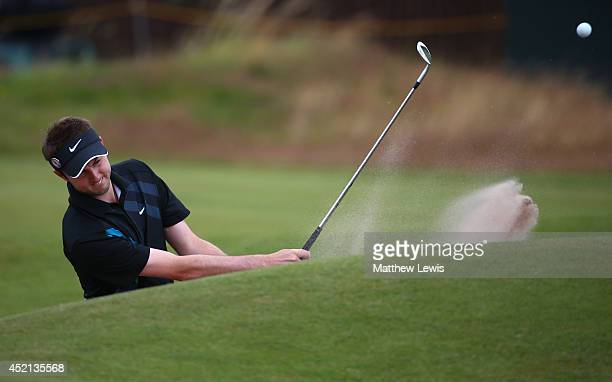 Amateur Ashley Chesters of England hits from a bunker during a practice round prior to the start of the 143rd Open Championship at Royal Liverpool on...