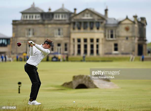 Amateur Ashley Chesters of England hits his tee shot on the 18th hole during the third round of the 144th Open Championship at The Old Course on July...