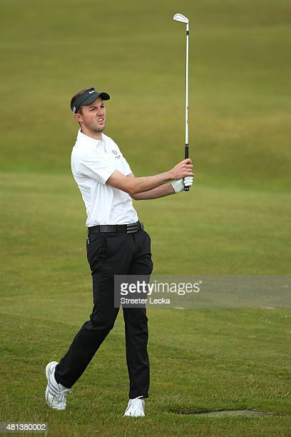 Amateur Ashley Chesters of England plays an approach on the 5th fairway during the final round of the 144th Open Championship at The Old Course on...