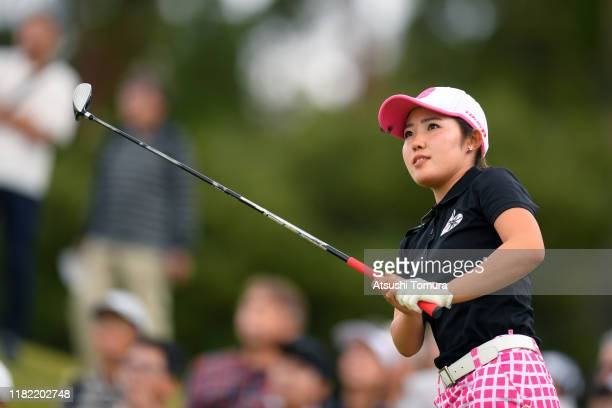 Amateur Ayaka Furue of Japan hits her tee shot on the 8th hole during the final round of Fujitsu Ladies at Tokyu Seven Hundred Club on October 20...