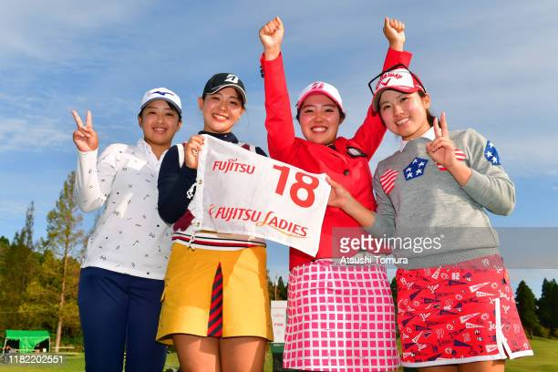 Amateur Ayaka Furue of Japan poses with Yuna Nishimura Yuri Yoshida and Mao Saigo after the award ceremony following the final round of Fujitsu...