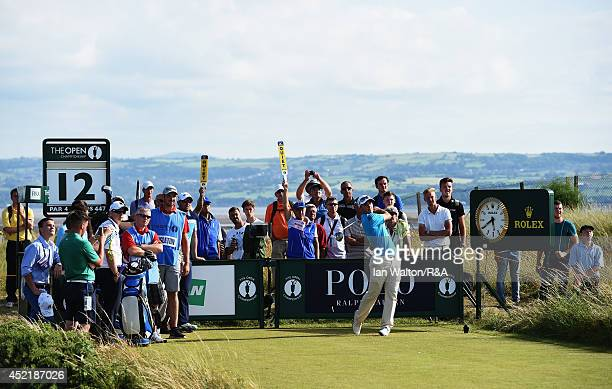 Amateur Bradley Neil of Scotland hits a tee shot during a practice round prior to the start of The 143rd Open Championship at Royal Liverpool on July...