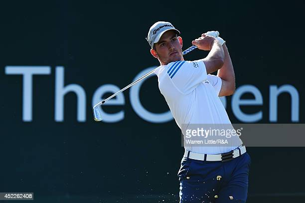 Amateur Bradley Neil of Scotland hits his tee shot on the first hole during the first round of The 143rd Open Championship at Royal Liverpool on July...