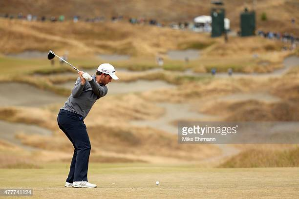 Amateur Bradley Neil of Scotland hits his tee shot on the fourth hole during the second round of the 115th US Open Championship at Chambers Bay on...