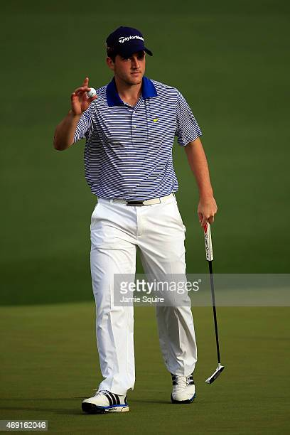 Amateur Bradley Neil of Scotland on the second green during the second round of the 2015 Masters Tournament at Augusta National Golf Club on April 10...