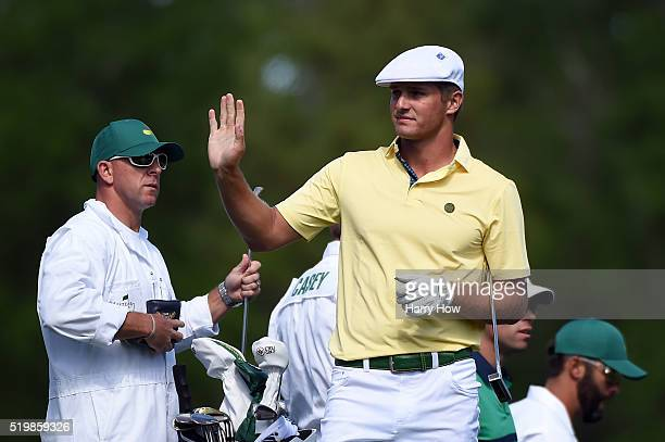Amateur Bryson DeChambeau of the United States gestures during the second round of the 2016 Masters Tournament at Augusta National Golf Club on April...