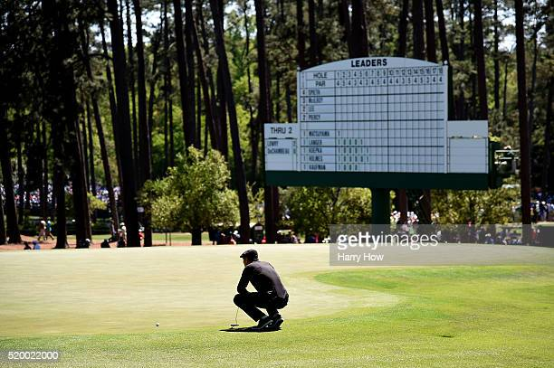 Amateur Bryson DeChambeau of the United States lines up a putt on the third green during the third round of the 2016 Masters Tournament at Augusta...