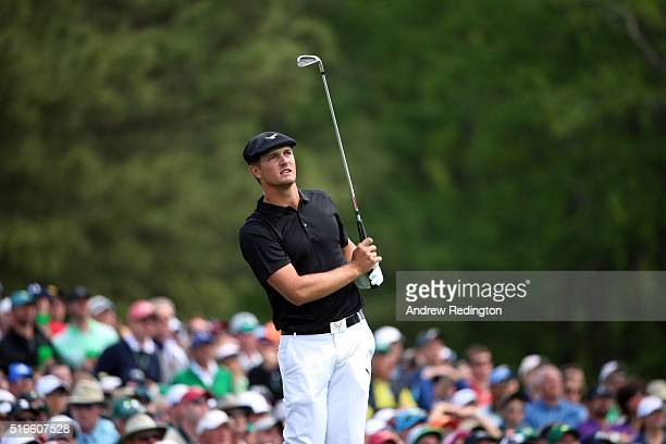 Amateur Bryson DeChambeau of the United States plays his shot from the 12th tee during the first round of the 2016 Masters Tournament at Augusta...