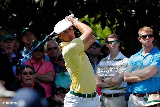 Amateur Bryson DeChambeau of the United States plays his shot from the seventh tee during the second round of the 2016 Masters Tournament at Augusta...