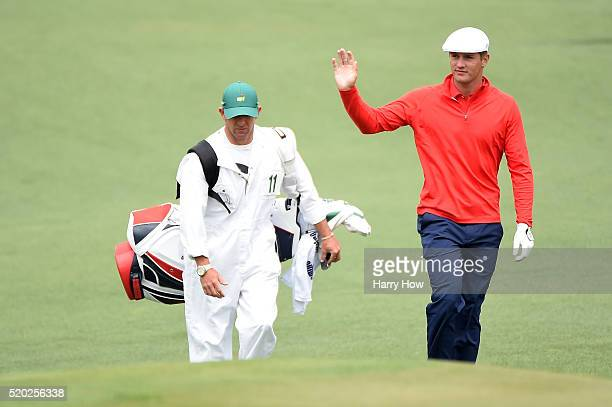 Amateur Bryson DeChambeau of the United States walks to the second green during the final round of the 2016 Masters Tournament at Augusta National...