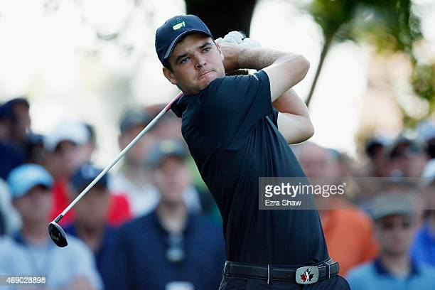 Amateur Corey Conners of Canada watches his tee shot on the fourth hole during the first round of the 2015 Masters Tournament at Augusta National...