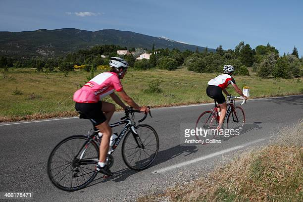 Amateur cyclists riding up Mont Ventoux