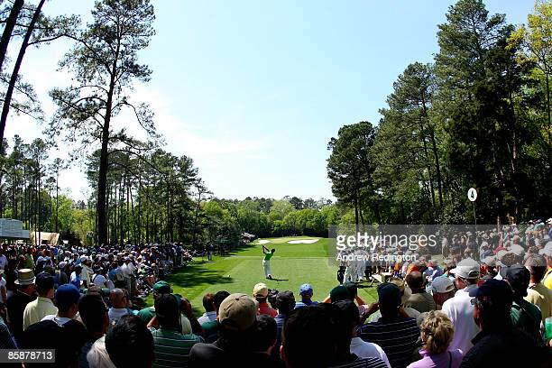 Amateur Danny Lee of New Zealand hits his tee shot on the fourth hole during the first round of the 2009 Masters Tournament at Augusta National Golf...