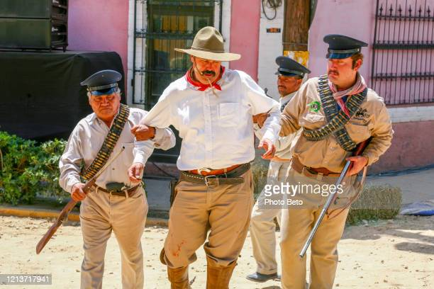 amateur figures and actors evoke the life and death of the famous mexican general pancho villa - pancho villa stock pictures, royalty-free photos & images