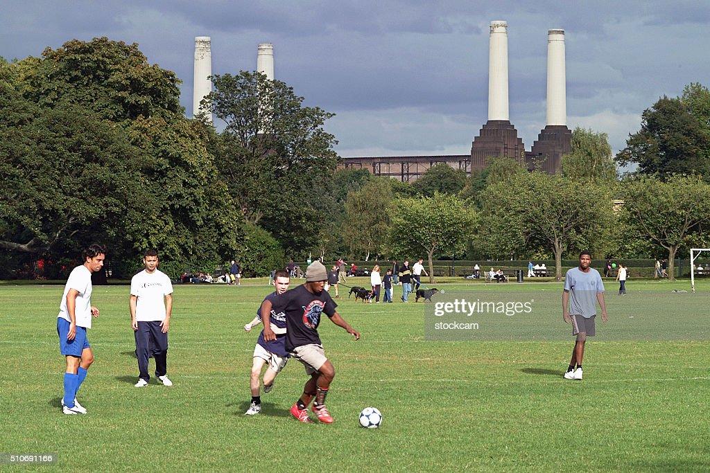 Amateur football, Battersea park, London : Stock Photo