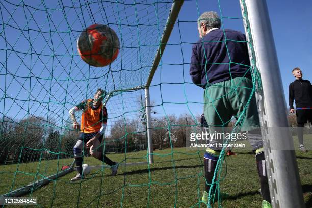 Amateur Football players in action during a private fun match at Ismaning near Munich on March 15 2020 in Ismaning Germany