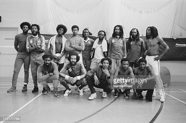 Amateur football teams led by Jamaican singersongwriter Bob Marley and fellow reggae artist Eddy Grant at a match Hammersmith Leisure Centre London...