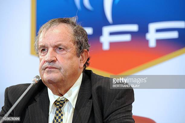 Amateur French football league chief Fernand Duchaussoy gives a press conference at the French Football Federation headquarters on July 2 2010 in...