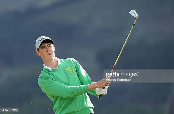 Amateur Gary Hurley of Ireland hits his 3rd shot on the 1st hole during the First Round of the Dubai Duty Free Irish Open Hosted by the Rory...
