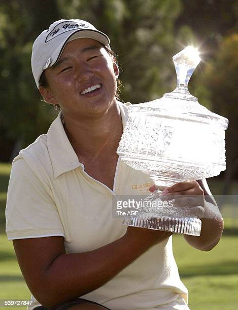 Amateur golfer Amy Yang with the trophy after winning the ANZ Ladies Masters at Royal Pines on the Gold Coast 5 February 2006 THE AGE Picture by PAUL...