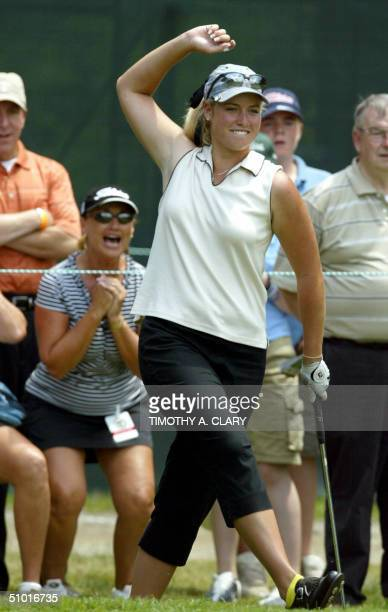 Amateur golfer Brittany Lincicome reacts to a missed birdie putt on the 17th hole during the first round at the US Women's Open at the Orchards Golf...