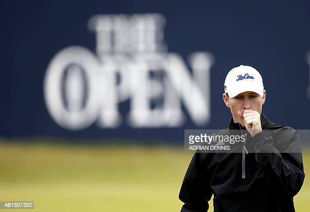 Amateur golfer Jordan Niebrugge walks off the 1st green during his third round, on day four of the 2015 British Open Golf Championship on The Old...