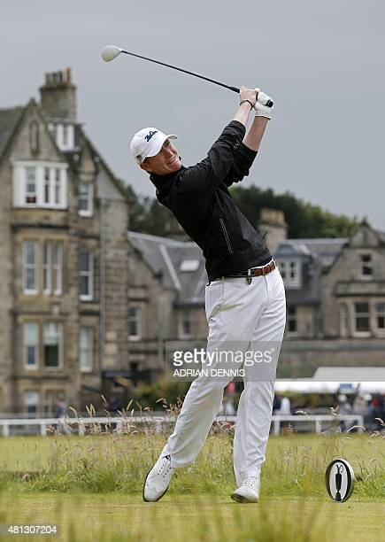 Amateur golfer Jordan Niebrugge watches his shot from the 2nd tee during his third round, on day four of the 2015 British Open Golf Championship on...
