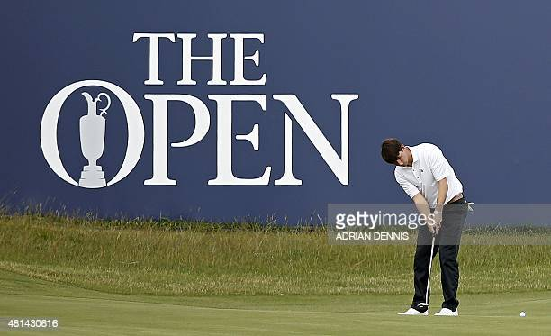 Amateur golfer Oliver Schniederjans putts on the 1st green during his third round, on day four of the 2015 British Open Golf Championship on The Old...