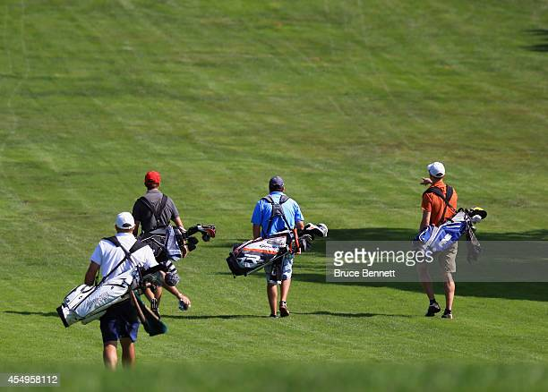 Amateur golfers in action as photographed on the Bethpage State Park Black Golf Course on September 6 2014 in Bethpage New York